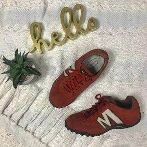 Merrell 'Sprint Blast' brick red leather sneakers